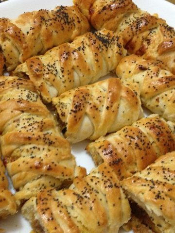 braided pastry logs