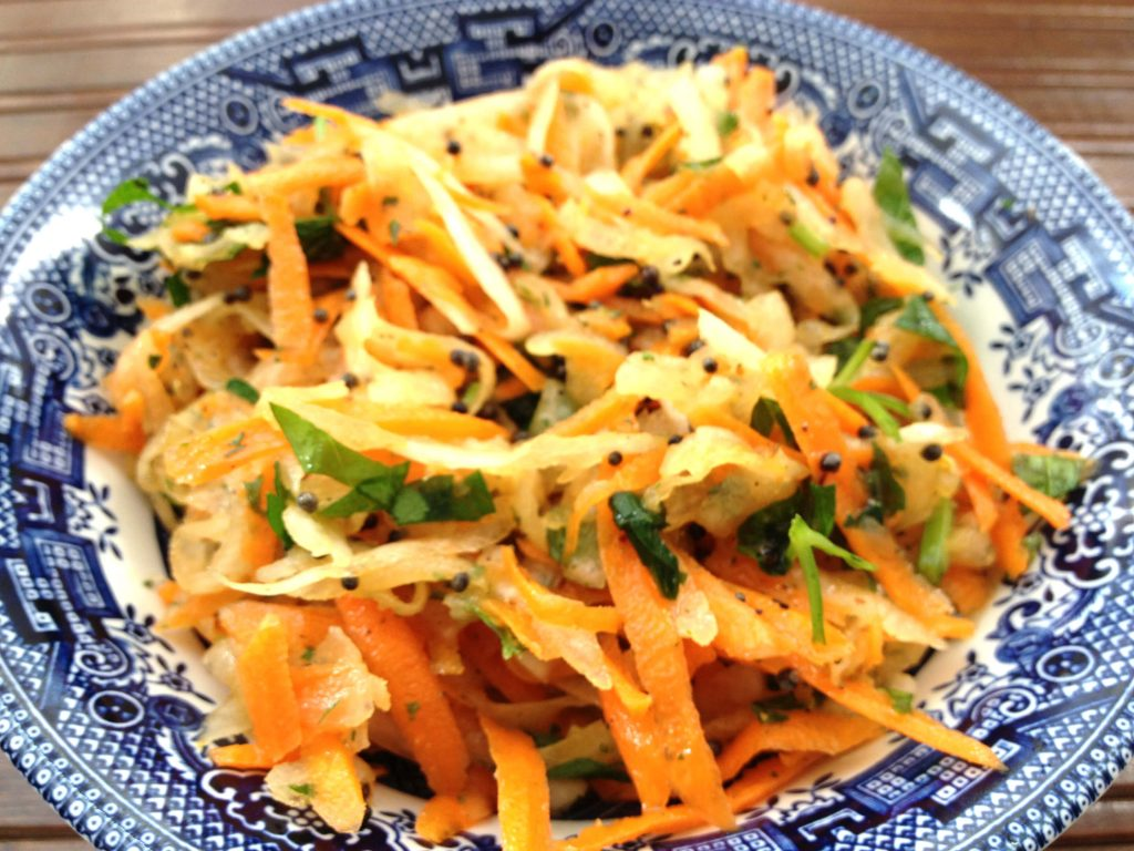 spicy carrot and green apple salad