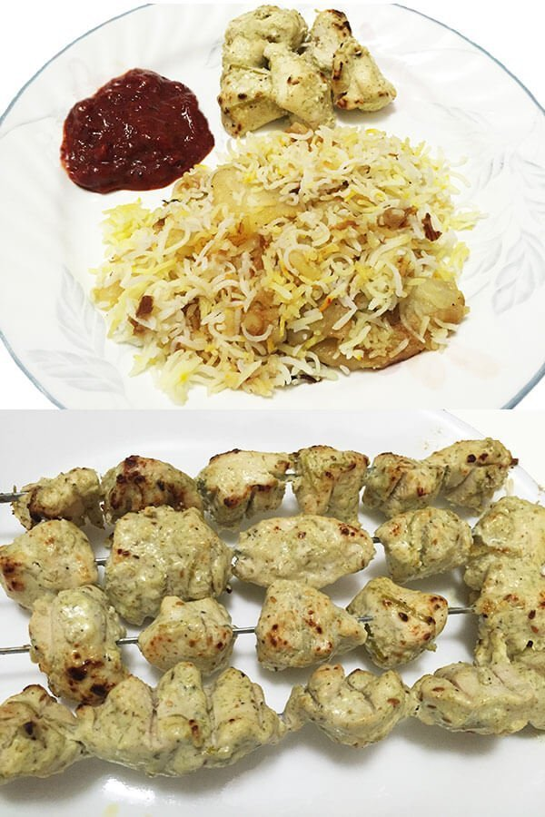 chicken kebabs with persian rice
