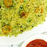 green shrimp biryani