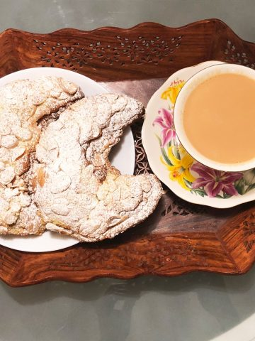 almond croissants with tea