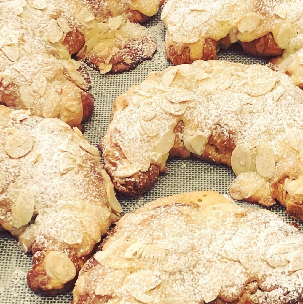 almond croissants - double baked
